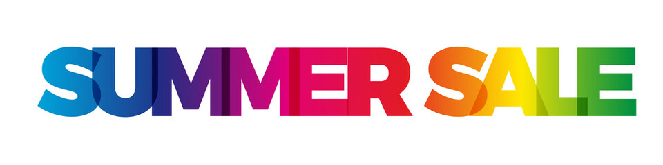 The word Summer sale. Vector banner with the text colored rainbow.