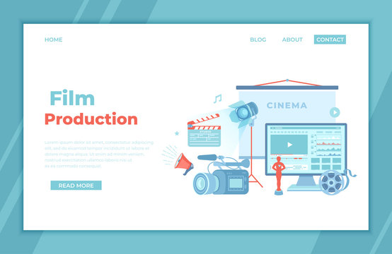 Film Production, Film making concept. Movie camera, loud speaker, clapper board, cine-film, video editor on screen, award statue, cinema screen. landing page template or banner. Vector.