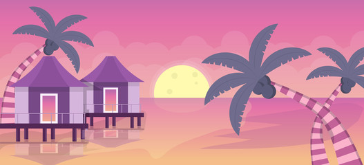 Deurstickers Candy roze Beach resorts landscape illustration