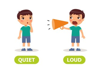 The little boy screams in a megaphone and the girl is silent. Illustration of opposites loud and quiet. Card for teaching aid, for a foreign language learning. Vector illustration,, cartoon style.