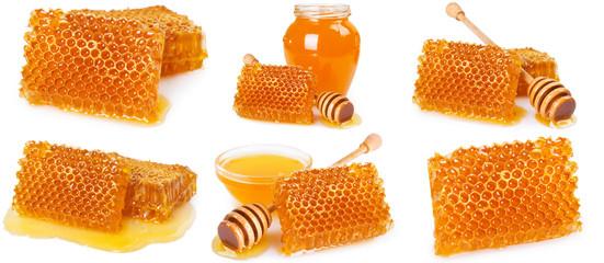 Fototapete - Honey and honeycomb on white background