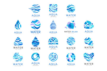 Flat vector set of original aqua logos. Abstract blue emblems for water delivery companies. Elements for advertising poster or banner