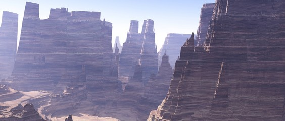 Canyon, panorama of canyon landscape, alien landscape
