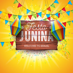 Festa Junina Illustration with Party Flags and Paper Lantern on Yellow Background. Vector Brazil June Festival Design Typography Letter on Vintage Wood Board for Greeting Card, Invitation or Holiday