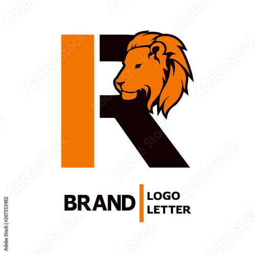 Letter R alphabet logo icon design with head Lion isolated