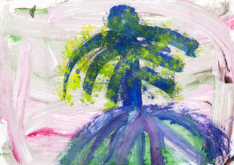 abstract pink landscape with blue palm tree