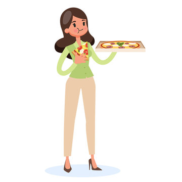 Woman holding box and eating slice of pizza. Delicious dinner