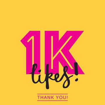 1K likes online social media thank you banner