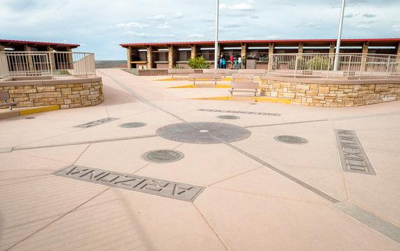 Four Corners Monument where New Mexico, Utah, Arizona and Colorado meet