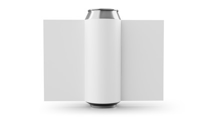 Aluminum cans with label Isolated on white. 3D rendering