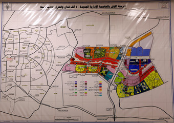 General map of the first phase of of NAC at entrance of the Administrative Capital for Urban Development office in Cairo