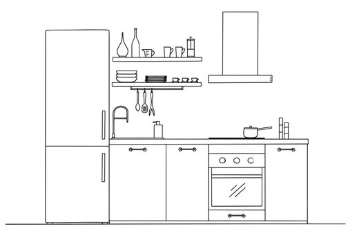 Sketch of the kitchen front view. Vector