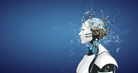 Humanoid Robot Splintered Head Brain