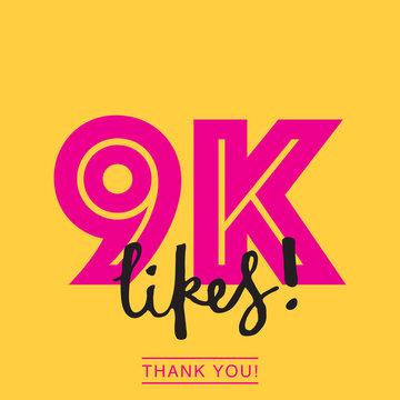 9k likes online social media thank you banner