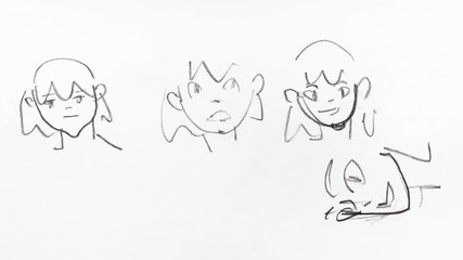 line sketches of emotional faces of girls