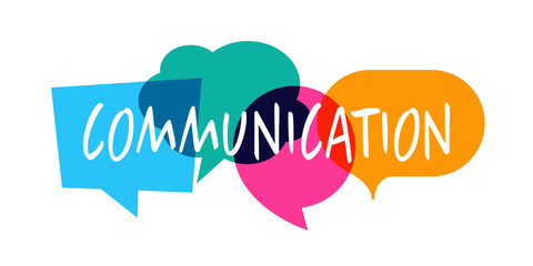 Communication / Word in colorful speech bubble Wall mural