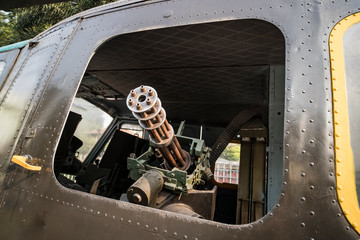 Minigun mounted inside a Huey helicopter