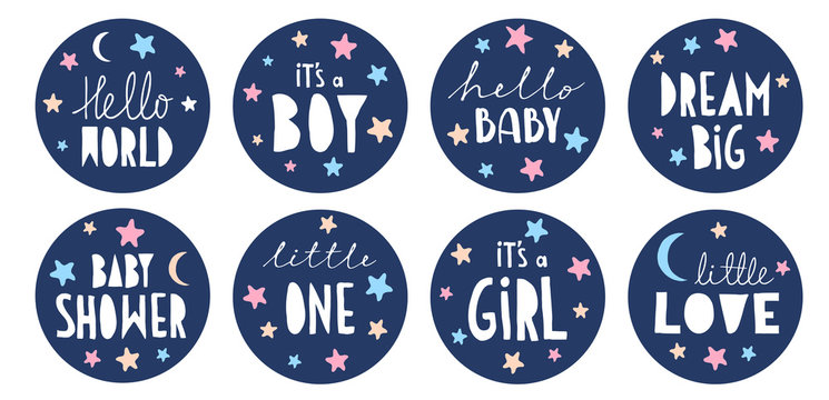 Sweet Baby Shower Vector Sticker Set. Round Blue Tags. It's a Boy. It's a Girl. Little One. Hello Love. Handwritten Letters. Cute Round Shape Cake Toppers for Baby Shower Party, Candy Bar Decoration.