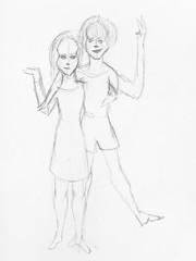 sketch of happy girls hand drawn by black pencil