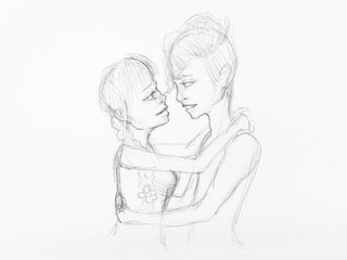 sketch of embraced couple hand drawn by pencil