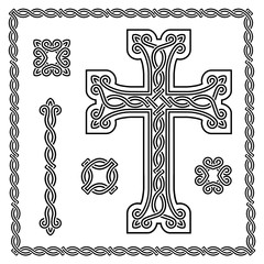 christian cross with interlaced ornament