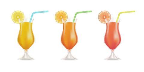 Vector cocktail set garnished with fresh orange, lemon, and colored straw tubes isolated on white background. Stock Illustration.