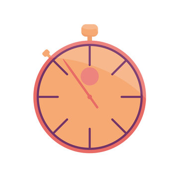 Colored stopwatch Icon in semi flat style isolated on white.