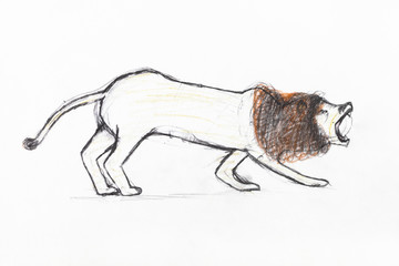 roaring lion with brown mane by pencils