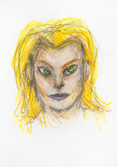 portrait of catwoman with yellow hair by pencils