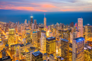 Fototapete - Downtown skyline of Chicago from top view in USA