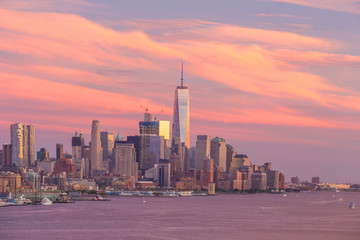 Fototapete - New York City midtown Manhattan sunset skyline panorama view over Hudson River