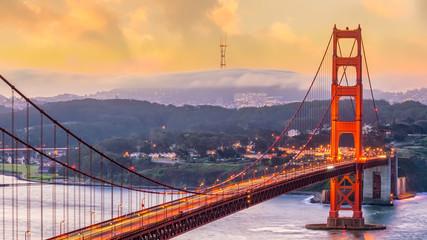 Wall Mural - Famous Golden Gate Bridge, San Francisco at sunset