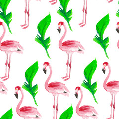 Tuinposter Flamingo Pattern with pink flamingos and tropical leaves