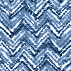 Indigo blue chevron ornament. Seamless watercolor pattern