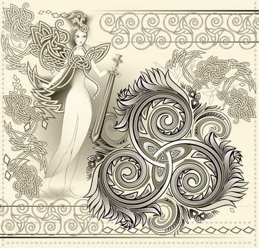 Fantastic Celtic ornament with triple spiral symbol and ancient medieval fairy holding sword. Beautiful Gothic Western Europe decoration. Printable pattern for modern print, Henna, Mehndi, tattoo.