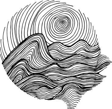 Black white illustration of sea waves and sky in hatching style.