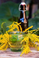 Natural medicine. Juice, herb syrup, Alertness, Health. Natural medicine, Holistic medicine,