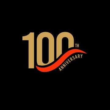 100 Year Anniversary Gold Vector Template Design Illustration