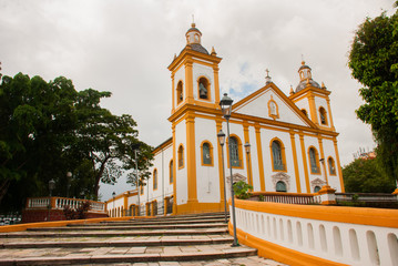 Beautiful Catholic Church. Matriz Church in Portuguese Igreja Matriz, Manaus Amazonas, Brazil