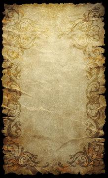 Fantasy scroll with worn out ornamental border