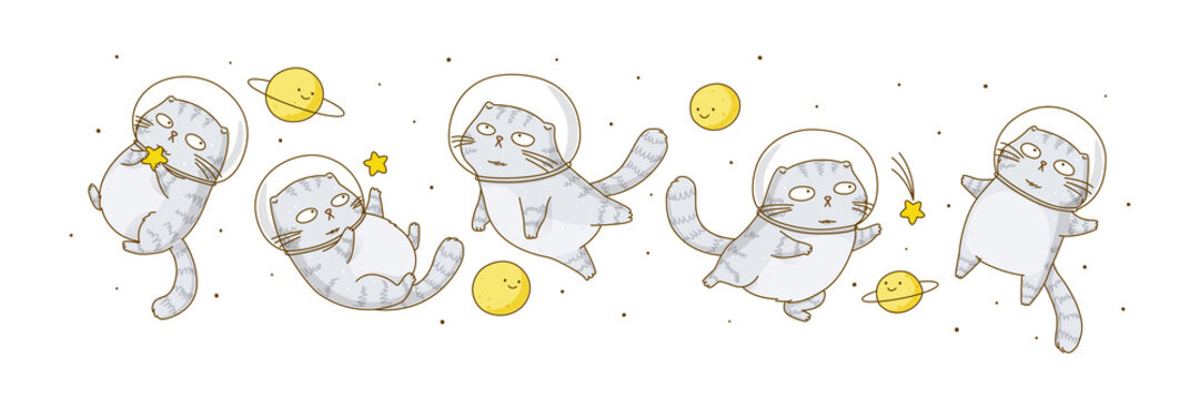 Set of cute scottish fold cats astronauts isolated on white background