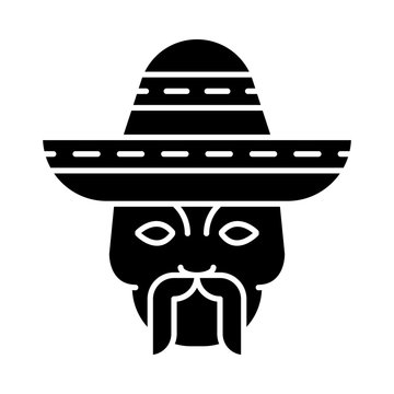 Head with mustache and sombrero glyph icon