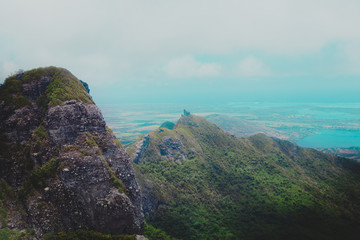 Aerial view of Mauritius mountains taken during helicopter flight