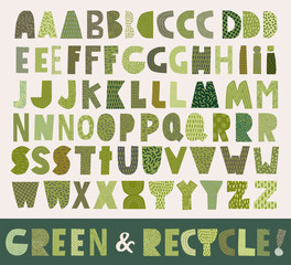 Green paper cut  alphabet for recycle and environment style