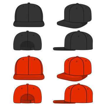 Set of color images of a rapper cap with a flat visor, snapback. Isolated vector objects on white background.