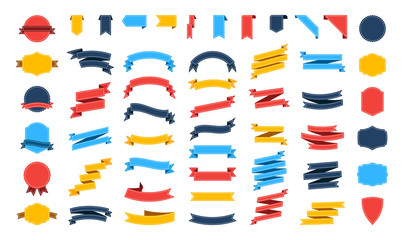 Wall Mural - Big vector ribbons banners set. Flat ribbon illustration isolated on white background. Ribbons collection.