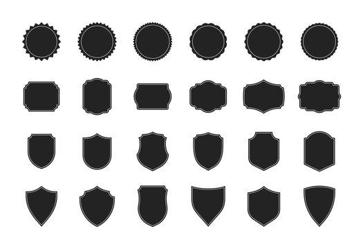 Big shields collection. Black silhouette shield shape, black label. Vintage or retro shields set. Vector illustration.