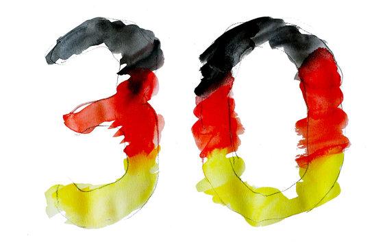 30 Jahre Wiedervereinigung, Öffnung der Grenze und Fall der Mauer, Mauerfall, Tag der deutschen Einheit, Zerfall der DDR, BRD, Berlin, Zeichnung