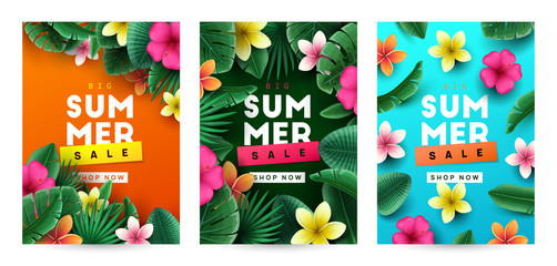 Summer background with tropical flowers and palm leaves. Vector illustration