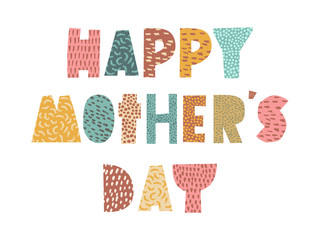 Happy mother's day card background with paper cut lettering message